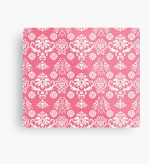 Red and White Damask Metal Print