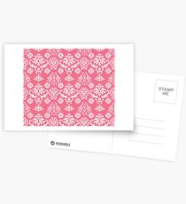 Red and White Damask Postcards