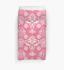 Red and White Damask Duvet Cover