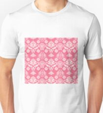 Red and White Damask Unisex T-Shirt
