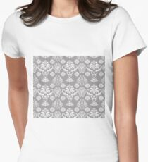 Silver and White Damask Women's Fitted T-Shirt