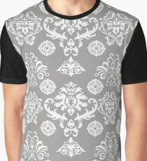 Silver and White Damask Graphic T-Shirt
