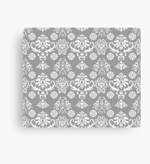 Silver and White Damask Canvas Print
