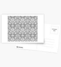 Silver and White Damask Postcards