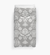 Silver and White Damask Duvet Cover