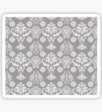 Silver and White Damask Sticker
