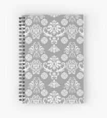 Silver and White Damask Spiral Notebook