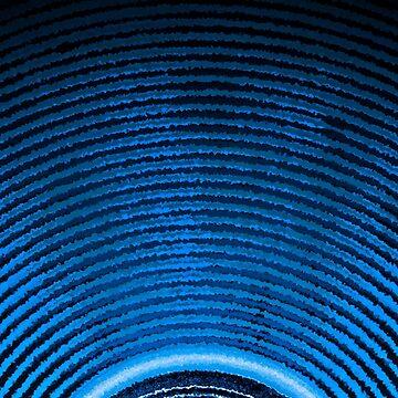 Blue music speaker and sound waves  by steveball