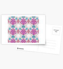 Multicoloured Damask Postcards