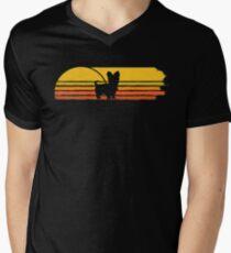 Yorkshire Terrier retro sun Men's V-Neck T-Shirt