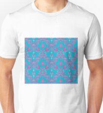 Vinatage Pink and Dark Blue Damask Pattern Unisex T-Shirt