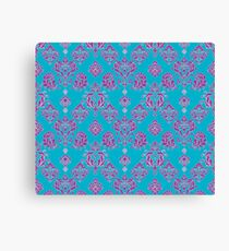 Vinatage Pink and Dark Blue Damask Pattern Canvas Print
