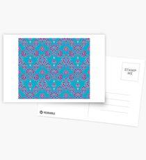 Vinatage Pink and Dark Blue Damask Pattern Postcards