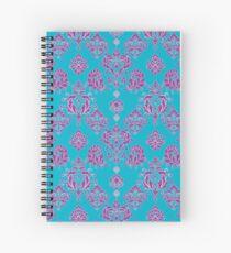 Vinatage Pink and Dark Blue Damask Pattern Spiral Notebook