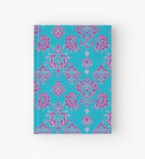 Vinatage Pink and Dark Blue Damask Pattern Hardcover Journal