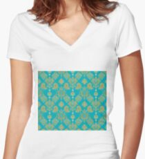 Gold and Blue Vintage Pattern Women's Fitted V-Neck T-Shirt