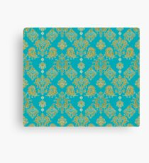 Gold and Blue Vintage Pattern Canvas Print