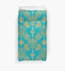 Gold and Blue Vintage Pattern Duvet Cover