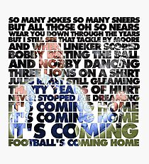 Football's Coming Home, Gareth Photographic Print