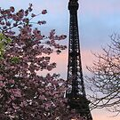 Spring in Paris: Blooms by the Eiffel Tower at dusk by Elena Skvortsova