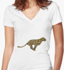 Leopard Brown and Yellow Print Women's Fitted V-Neck T-Shirt