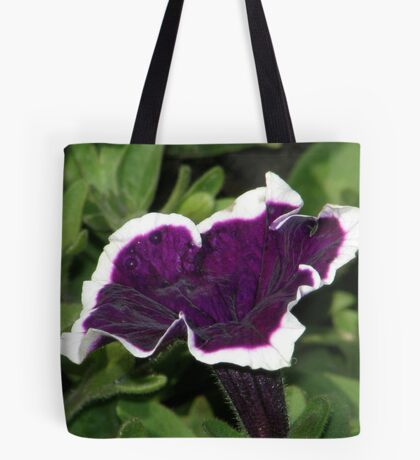 Smiley Face on Purple and White Trumpet Tote Bag