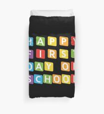 Cute Back To School Tshirt Happy First Day Of School Tee Duvet Cover