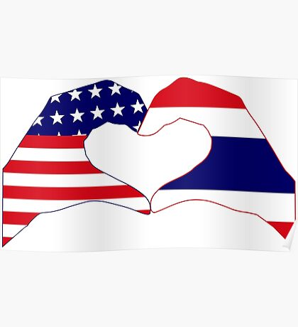 We Heart USA &Thailand Patriot Flag Series Poster