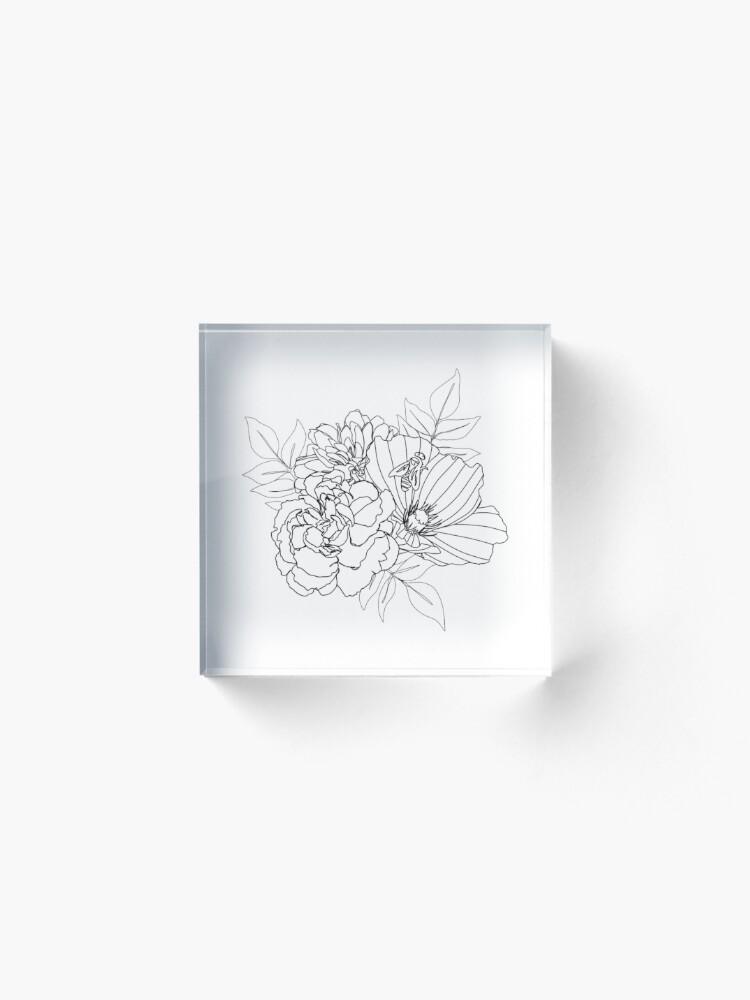 Alternate view of Floral Arrangment Acrylic Block