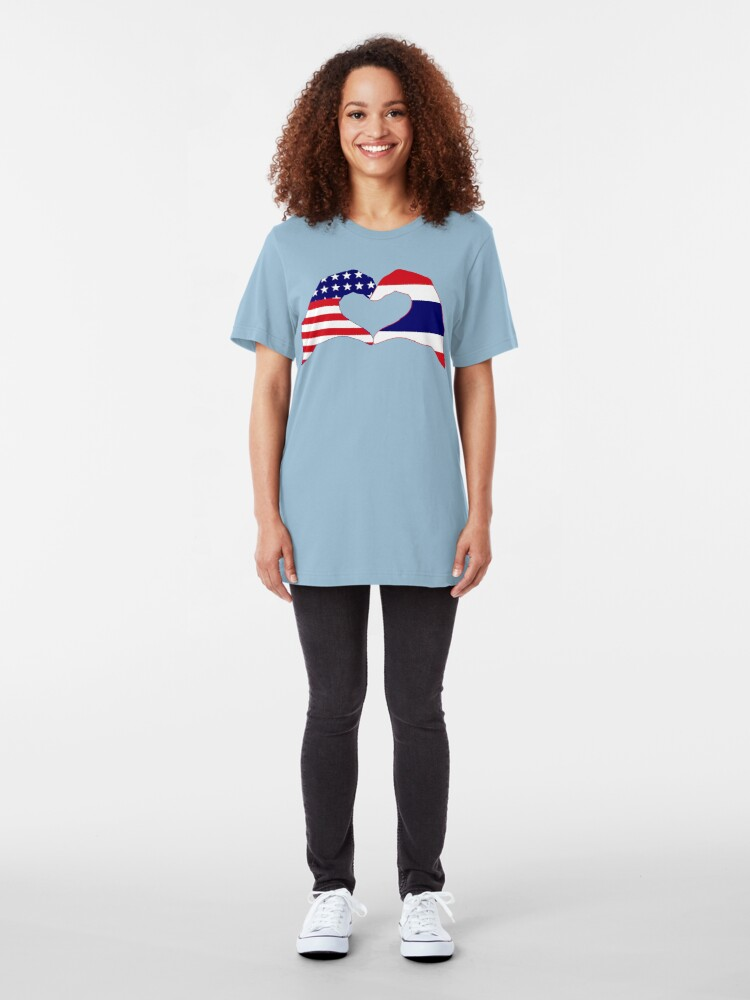 Alternate view of We Heart USA &Thailand Patriot Flag Series Slim Fit T-Shirt