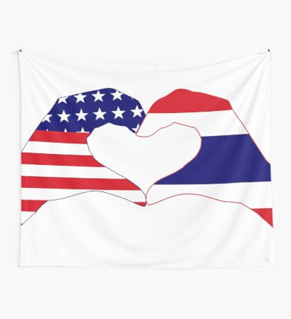 We Heart USA &Thailand Patriot Flag Series Wall Tapestry