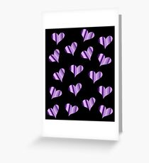 Purple Striped Heart Greeting Card