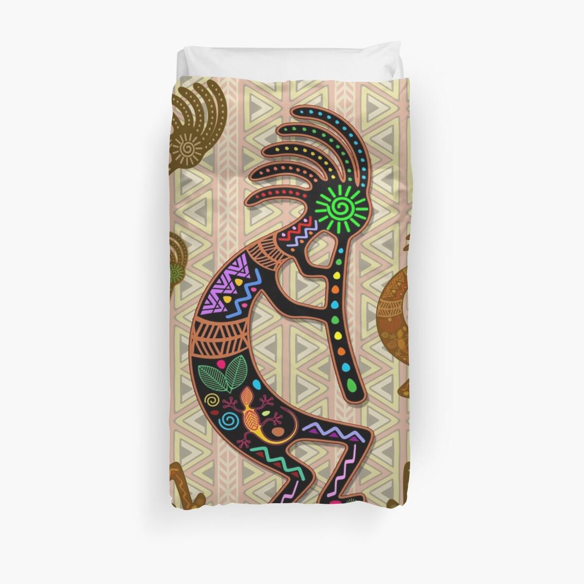 Kokopelli Rainbow Colors on Tribal Pattern  Duvet Cover