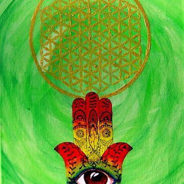 Flower of Life on Hamsa (Hand of Fatima) by joanna-philine