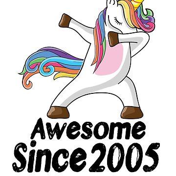 Unicorn Dabbing Awesome Since 2005 T-Shirt 13th Birthday Gifts by kelvil