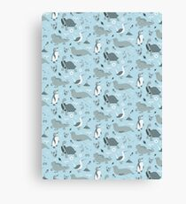Galapagos Pattern Blue Canvas Print