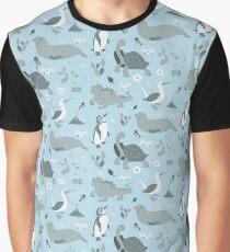 Galapagos Pattern Blue Graphic T-Shirt