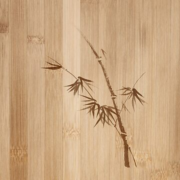 Delicate design Bamboo stalk with young leaves Zen style illustration on wood art print by AwenArtPrints