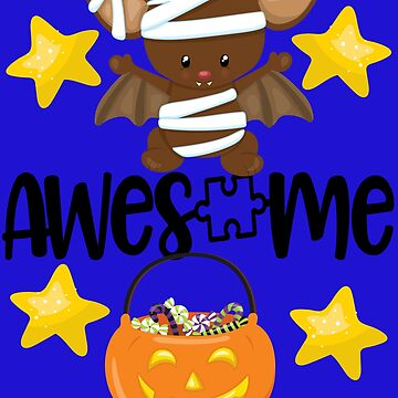 Awesome Autism Halloween with Puzzle Piece, Pumpkin and Mummy Bat by WigOutlet