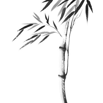 Japanese Zen painting of Bamboo stalk with leaves black ink on white rice paper art print by AwenArtPrints