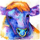 Watercolor Purple Bull with Nose Ring, Jules by Jeri Stunkard
