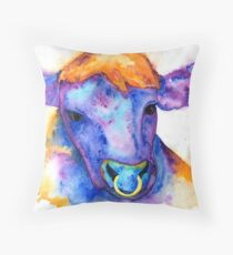 Watercolor Purple Bull with Nose Ring, Jules Throw Pillow