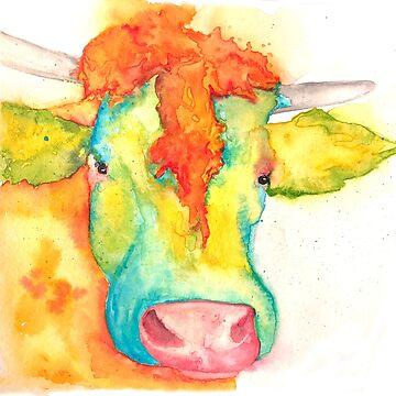 Susie, Watercolor Cow by jstunkard