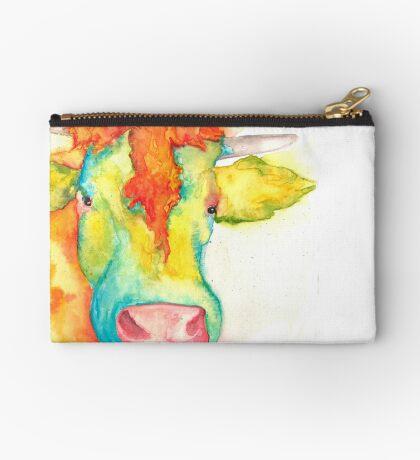 Susie, Watercolor Cow Studio Pouch