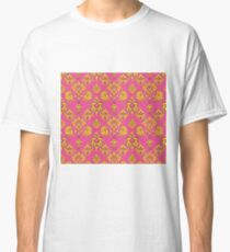 Pink and Gold Vintage Damask Classic T-Shirt
