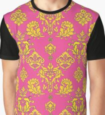 Pink and Gold Vintage Damask Graphic T-Shirt