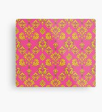 Pink and Gold Vintage Damask Metal Print