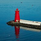 Red Lighthouse Reflecting In Dublin Ireland's Port by DARRIN ALDRIDGE