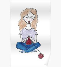 Girl knits Poster