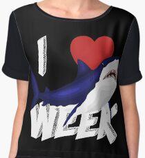 I Love The Week Of Sharks Cute Novelty Gift Idea For Shark Lovers Graphic Shark Design Chiffon Top
